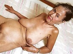Granny saggy tits black